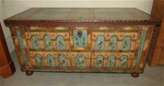 Paint Decorated Blanket Chest 1748 Howard Van Dyck