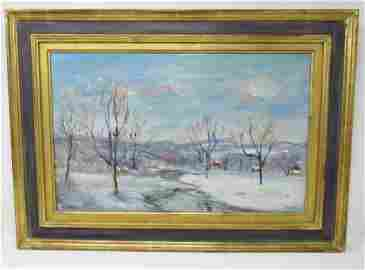 Walter Emerson Baum Oil on Canvas Painting Winter Creek