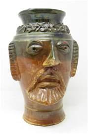 Redware Southern Pottery Figural Face Vase