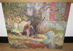 Frank Fiore Oil Painting Boy Mouring at Grave Site
