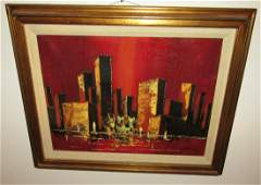 Oil on Canvas Cityscape Painting Signed D Boger