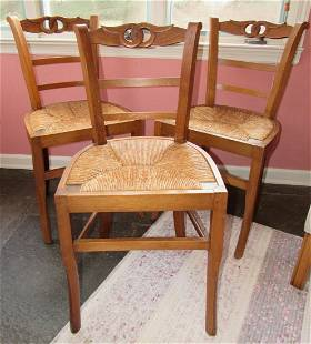 Set of 3 Chairs with Rush Seats
