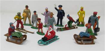 Antique Lead Figures Santa Skiers Policeman