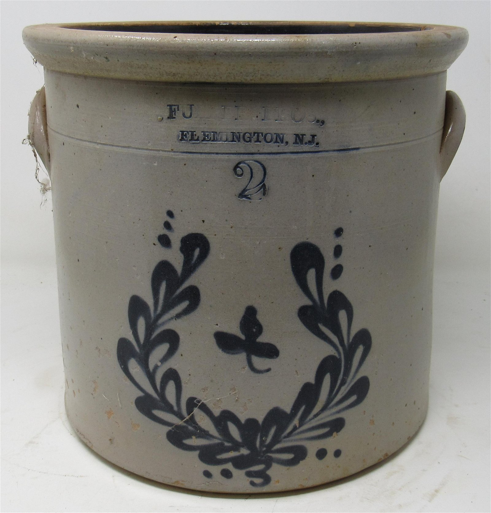 Fulper 2 Gallon Blue Decorated Stoneware Crock