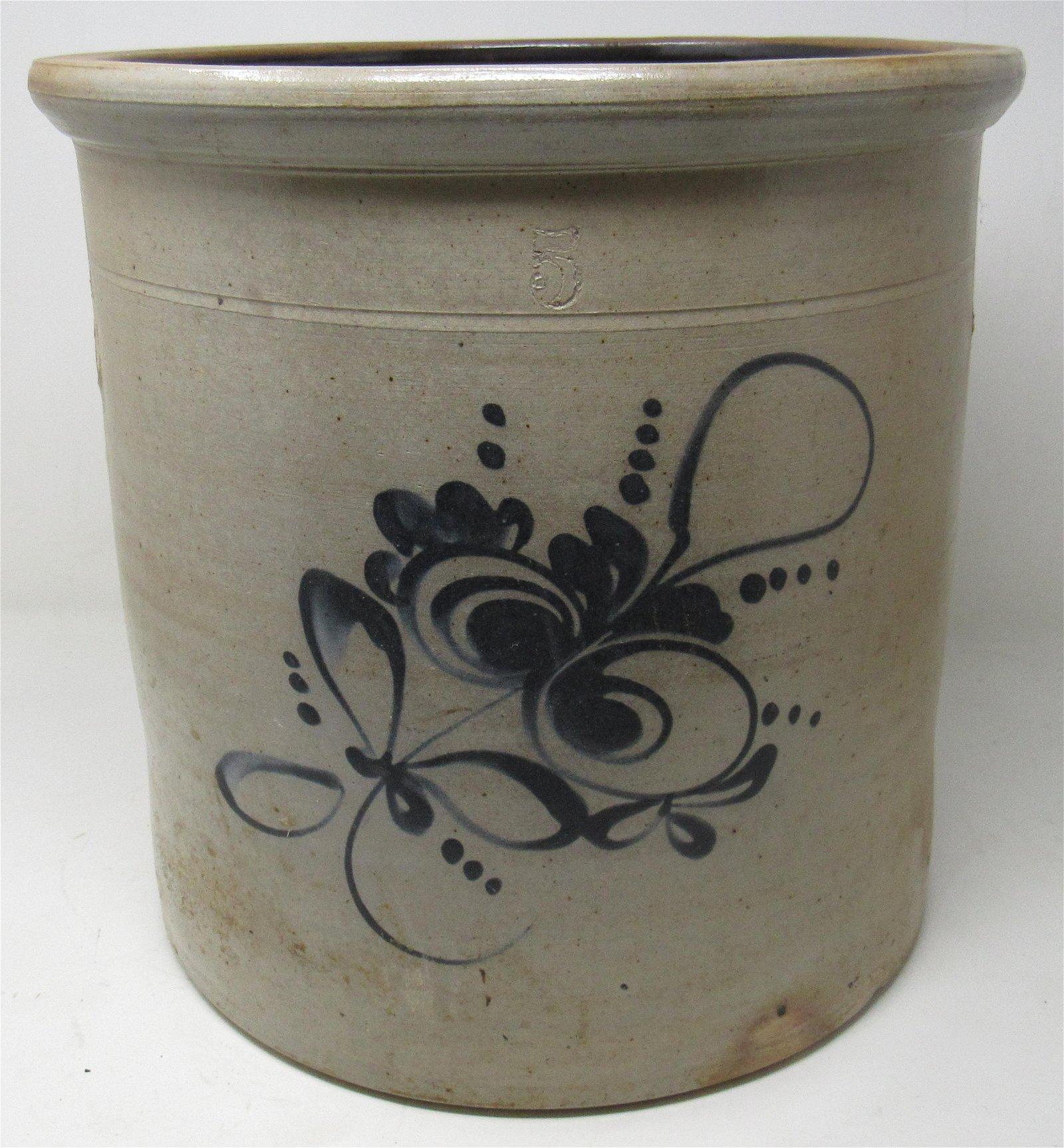 5 Gallon Blue Decorated Stoneware Crock
