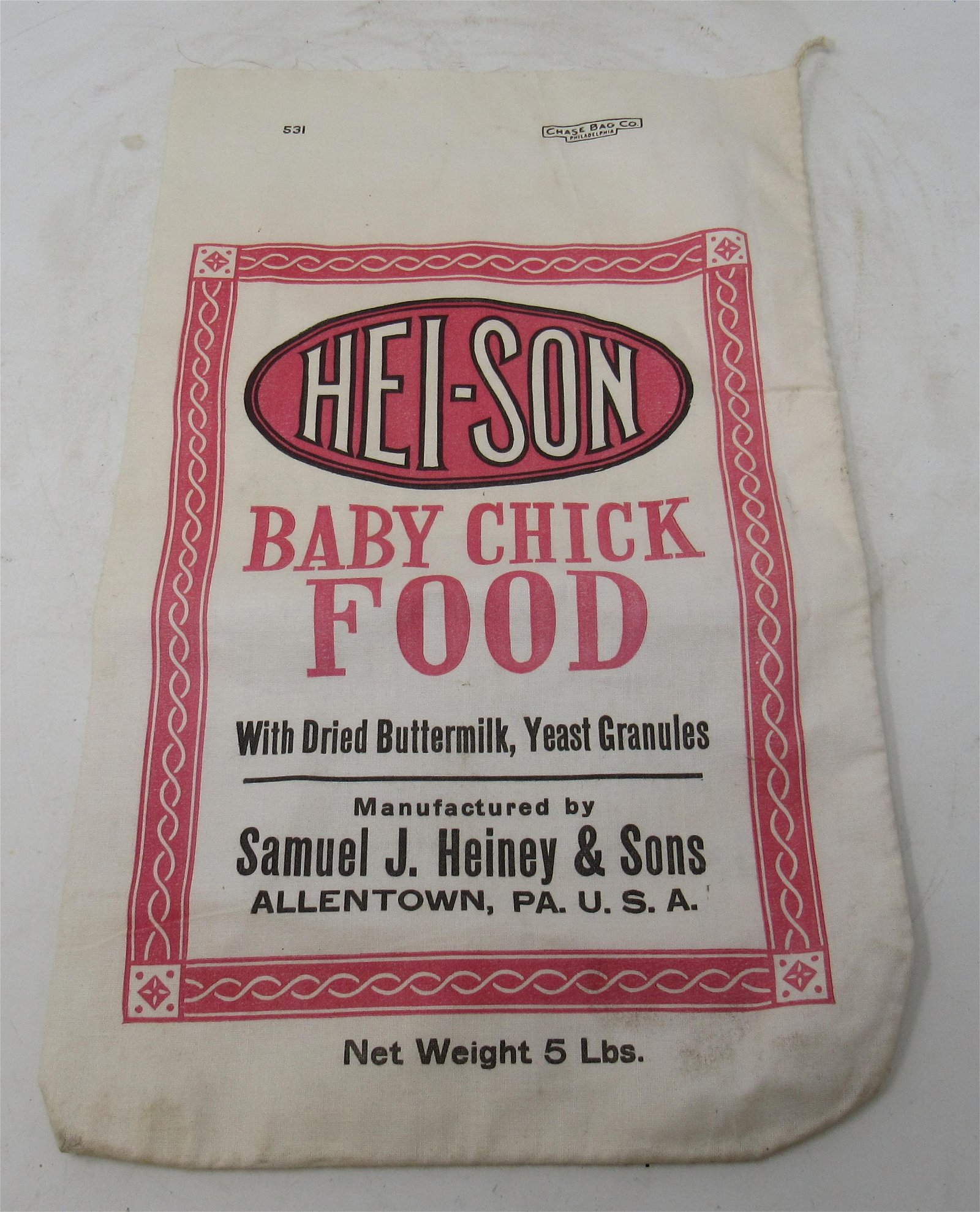 Hei-Son Baby Chick Food Bag Allentown Pa