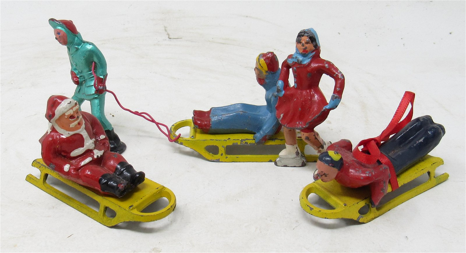 Lead Sleigh Riding Figures Santa Sled Ice Skating