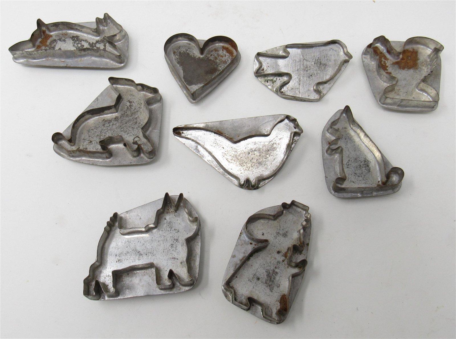 9 Antique / Vintage Tin Cookie Cutters