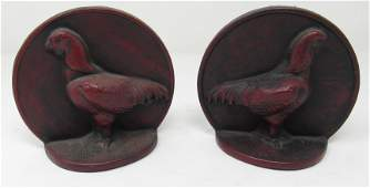 Red Cast Iron Chicken Bookends