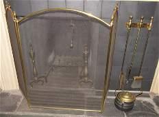 Fireplace Set Brass Andirons Tools Screen