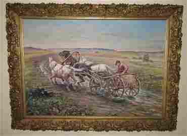 European O/C Horse Painting Signed K Markowski