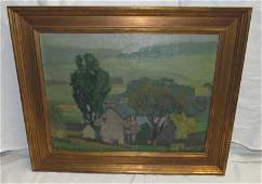 WE Baum Oil on Board Painting Point Pleasant Pa