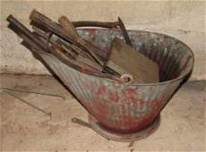 Coal Scuttle with Drill Bits Punches and Chisels