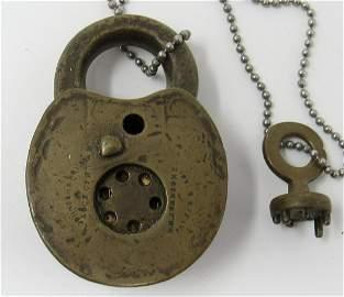 1861 Johnson Rotary Padlock with Key