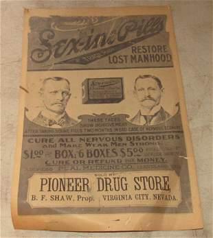 Pioneer Drug Store Nevada Sex-Ine Pills Poster