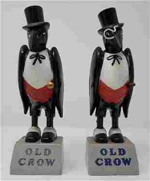 2 Old Crow Whiskey Back Bar Figures