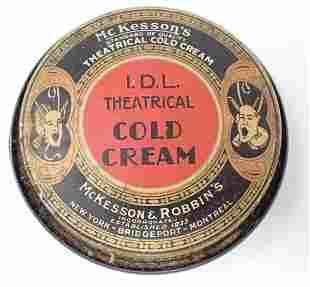 1930 McKesson's IDL Theatrical Cold Cream Tin