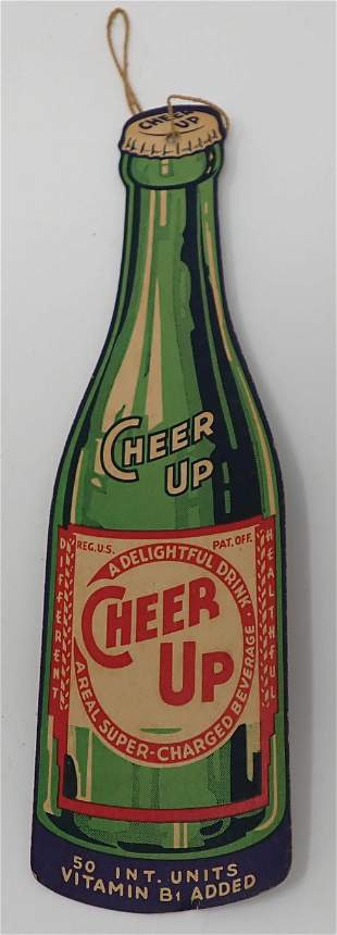 Cheer Up Beverage Double Sided Die Cut Bottle