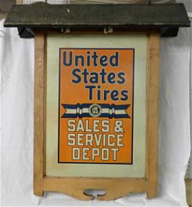 United States Tires Tin Sign in Orig. Lighted Frame