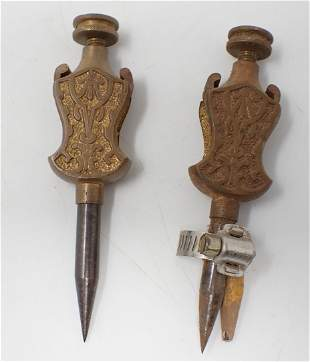 2 Brass Trammel Points