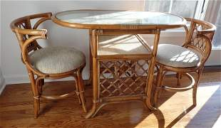 Rattan Glass Top Patio Table and 2 Chairs