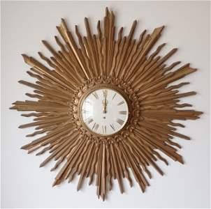 Syroco Sunburst Mid Century Modern Clock