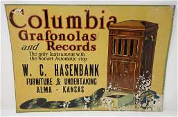 Columbia Grafonolas & Records Tin Sign Alma Kansas