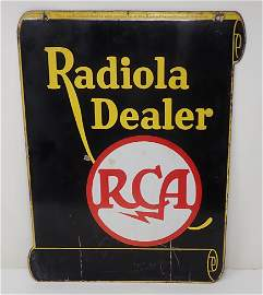 RCA Radiola Dealer 2 Sided Porcelain Sign