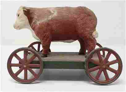 Hereford Bull / Steer Cow Pull Toy