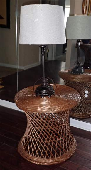 Wicker Stand and Table Lamp