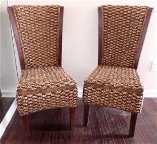 2 Basket Weave Style Decorator Side Chairs
