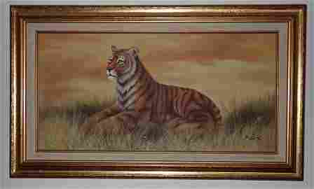Rex Oil on Canvas Tiger Painting