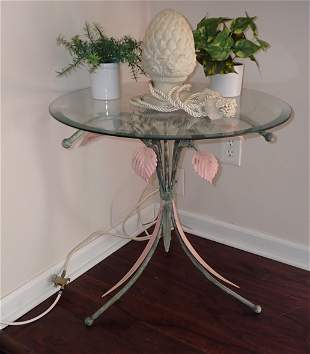 Metal Flower Decorator Table with Glass Top