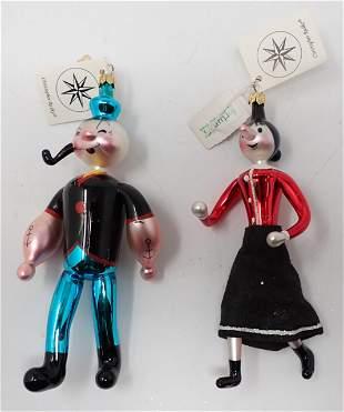 Christopher Radko Popeye & Olive Oyl Ornaments