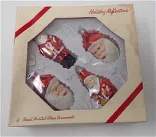 4 Vintage Hand Painted Santa Claus Ornaments