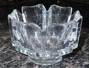 Signed Orrefors Lead Crystal Bowl