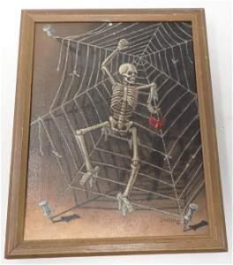 1976 Skeleton w/ Mask  Painting Signed Landa