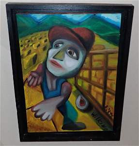 Wilking Surrealistic Oil on Canvas Painting