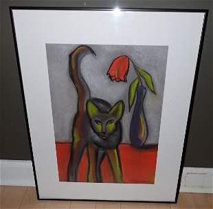 Wildenboer Signed Cat & Flower Pastel