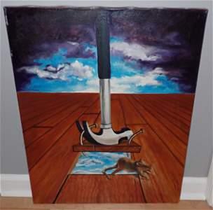 Lynne Hoinash Oil on Canvas w/ Mouse & Hammer