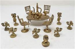 Brass Dollhouse Furniture Candle Holders Owl