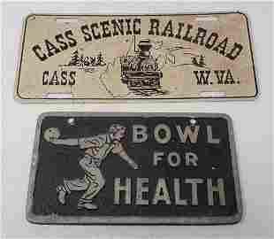 Cast Aluminum Bowling Plaque & RR License Plate