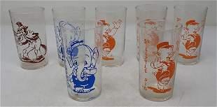 7 Pyro Drinking Glasses Porky Pig Big Bad Wolf