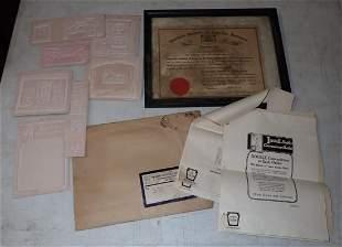 1940 American Inventors Certificate & Misc