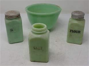 Jadeite Shakers and Mixing Bowl