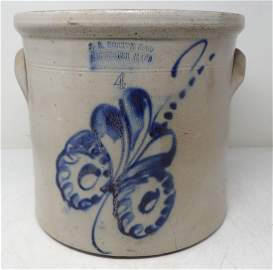 FB Norton Blue Decorated Stoneware Crock