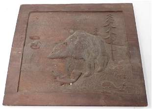 Wood Carved Bear with Fish Plaque
