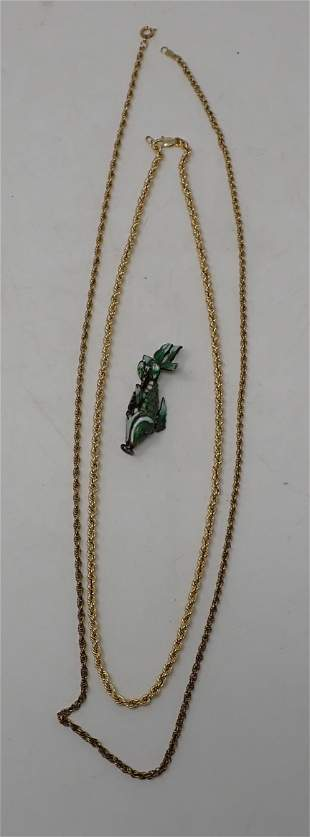 10 & 12 Kt Gold Chains with Fish Charm