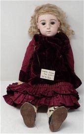 "Jumeau 24"" Bisque Head Doll Fixed Eyes Pierced Ears"