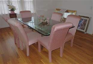 Glass Dining Room Table Mirror Chairs Print
